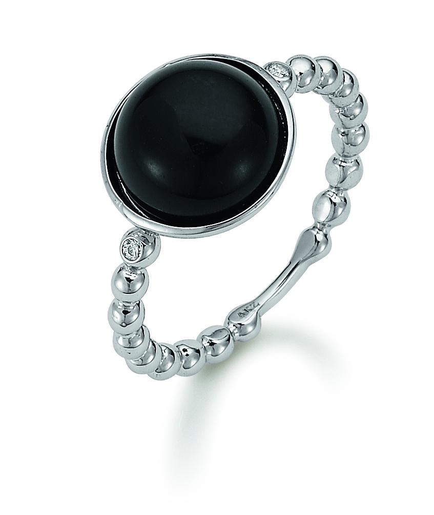 sølvring med sort sten